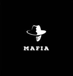man bandit mafia cowboy head silhouette logo vector image