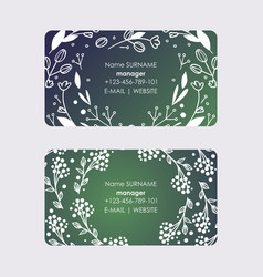 manager business cards with wreaths leaves and vector image