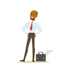 Manager With Suitcase And Project Papers Business vector
