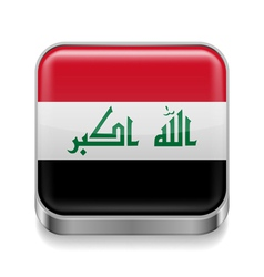 Metal icon of Iraq vector image