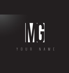 Mg letter logo with black and white negative vector