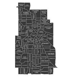 Minneapolis minnesota city map usa labelled black vector