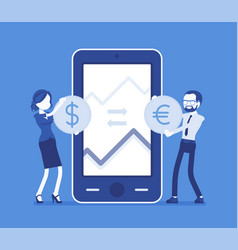Mobile currency exchange dollar and euro pair vector