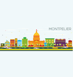 Montpelier skyline with color buildings vector