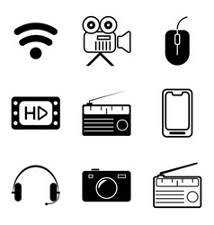 multimedia line icon set vector image