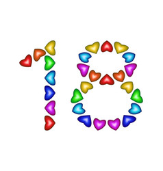 Number 18 eighteen from colorful hearts on white vector