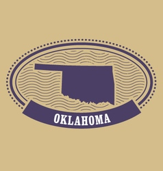 oklahoma silhouette - oval stamp of state vector image