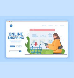 online shopping concept with woman making her vector image