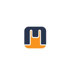 orange blue letter h alphabet logo design icon vector image