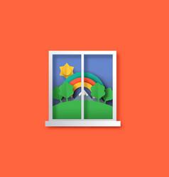 Outdoor nature window view in 3d papercut art vector