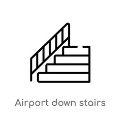 Outline airport down stairs icon isolated black vector