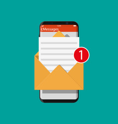 paper envelope letter in smartphone vector image