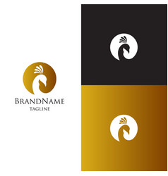 Peacock logo template luxury elagant feminine vector