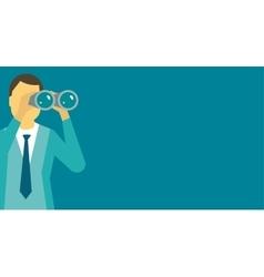 Person man looking ahead through binoculars vector image