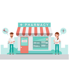 Pharmacy with man and woman in front drugstore vector