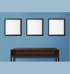 photo frames on blue wall vector image