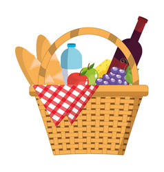 Picnic basket food vector