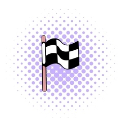 Racing checkered flag icon comics style vector image