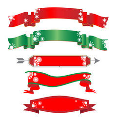 red christmas ribbon banners with snowflakes vector image