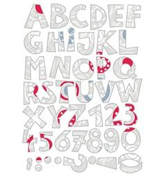 Retro snowflake font set vector