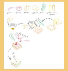 Sandwich recipe vector