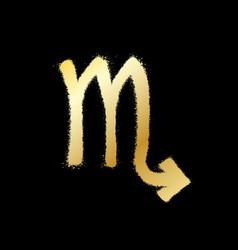 Scorpio zodiac sign gold paint sprayed icon vector