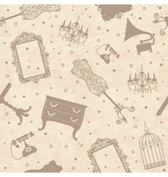 Seamless old cardboard texture with furniture vector