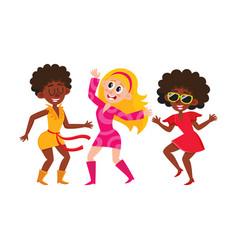 Set cartoon style retro disco dancers black vector
