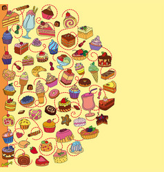 Set different sweets vector