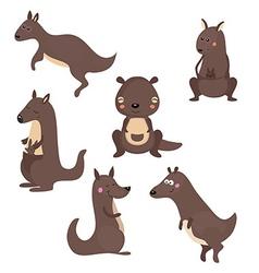 Set funny kangaroos vector
