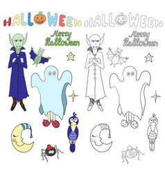 Set of cartoon halloween characters and words for vector