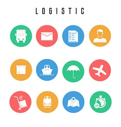 Set of logistic and shipping icons in flat style vector image