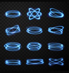 set realistic neon glowing light effect vector image