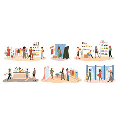 shopping happy women try dresses and shoes vector image