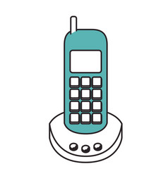 silhouette color sections of cordless phone vector image