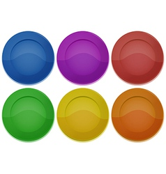 Six colorful round plates vector