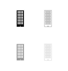 sky tower building black and grey set icon vector image