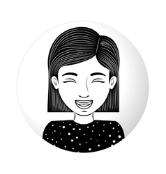 sphere half body teen smiling with eyesclosed vector image