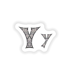 Sticker Low poly letter Y in gray mosaic polygon vector