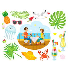 summer vacation couple eating near sea shore vector image