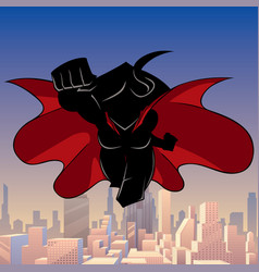 superheroine coming city silhouette vector image