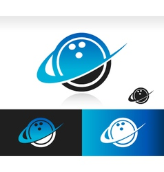 Swoosh Bowling Ball Logo Icon vector image