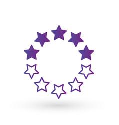 ten linear score stars in circle geometric shape vector image