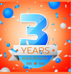 Three years anniversary celebration vector