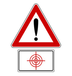 Traffic sign with exclamation mark and target vector