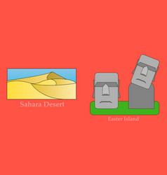 Travel journey concept famous monuments of world vector