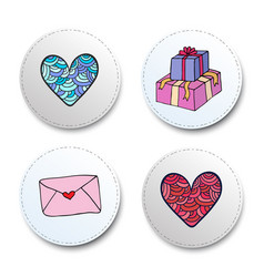 Valentine day icons set heart and gifts stickers vector