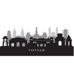 vietnam landmarks skyline in black and white vector image
