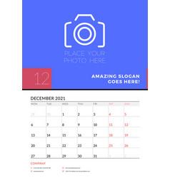Wall calendar planner template for december 2021 vector