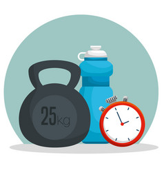 Water bottle with dumbbells and chronometer to vector
